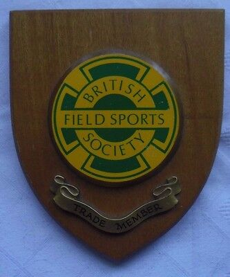 Vintage Plaque For The 'british Field Sports Society' - Trade Member