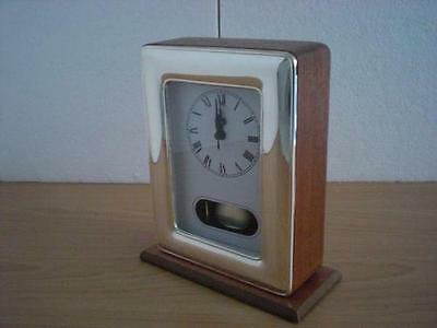 SOLID STERLING SILVER TABLE PENDULUM CLOCK *1017/9x13 USA new