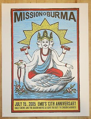 2005 Mission of Burma - Austin Silkscreen Concert Poster s/n by Noel Waggener