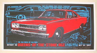 2007 Queens of the Stone Age - Detroit Silkscreen Concert Poster Jeral Tidwell