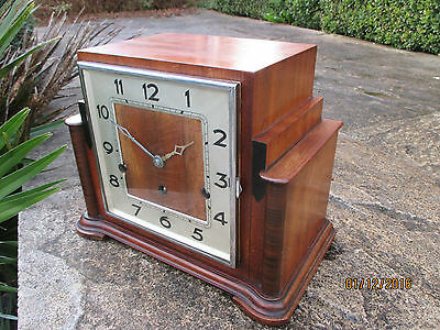 "Art Deco Westminster chiming clock with "" Garrard "" 8 day movement."