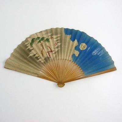 Mid 20Th Century Japanese Paper Folding Hand Fan With Birds In Sky Decoration