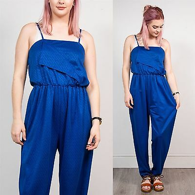 Womens Vintage Blue Strappy Jumpsuit Romper Geometric 80's 90's Long Length 10