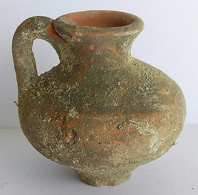 Ancient Antique Holy Land Byzantine Pitcher Clay Pottery Jug Terracotta R