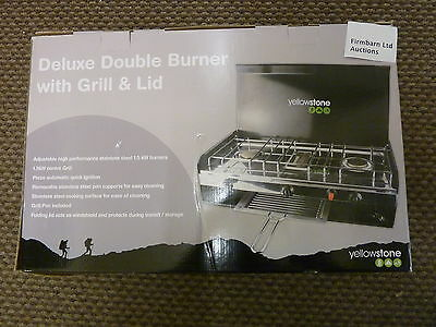 Yellowstone Portable Deluxe Double Burner with Grill & Lid BOXED NEVER USED bbq