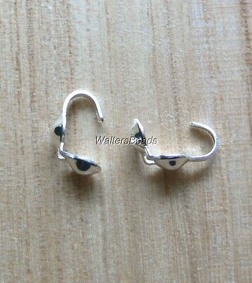 Clam Shell Knot Cover Bead Tip Cup Findings Sterling Silver Filled (30)
