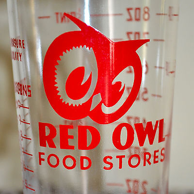 ~Minty~ Vintage Red Owl Food Stores Measuring Glass Promo Advertising Grocery