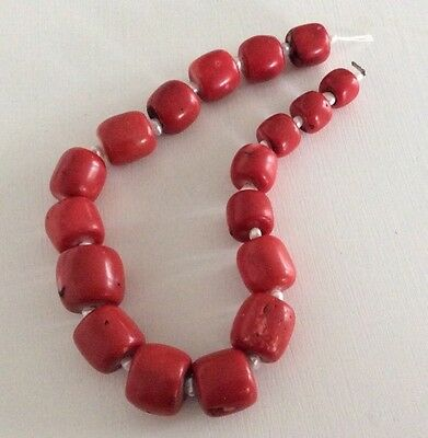 red coral beads Art Deco 183g