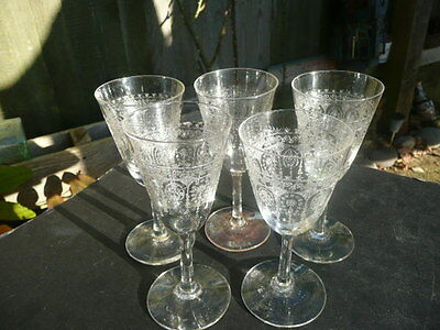 Stunning.antique Edwardian Crystal Wine Glasses X Five