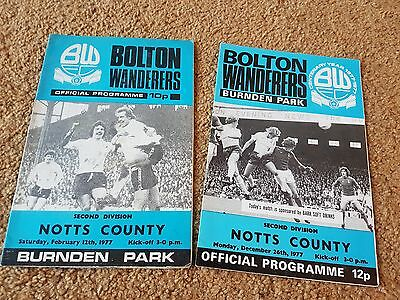 Bolton Wanderers V Notts County 76-77 And 77-78