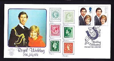 Gb 1981 Royal Wedding Fdc Official Leicester Cover With Family In Stamps