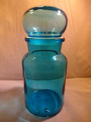 Turquoise Glass Canister with Ball Top - Made in Belgium