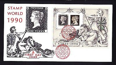 Gb 1990 Penny Black Miniature Sheet Fdc Rare Cover Type