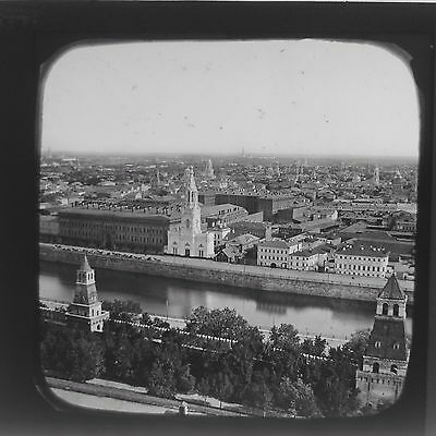 Magic Lantern Slide Panorama View Moscow Russia Russian USSR Social History