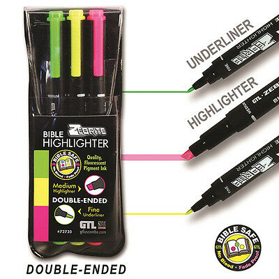 Zebrite Highlighters, Set of 3, Green, Yellow, Pink