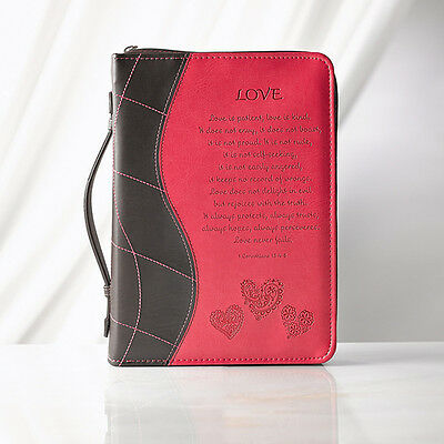 Love, 1 Cor. 13, Bible Cover Large, Pink