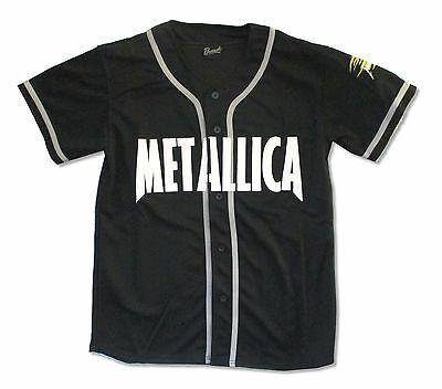 Metallica Pushead Skull Sleeve Mens Black Baseball Jersey New Official Adult