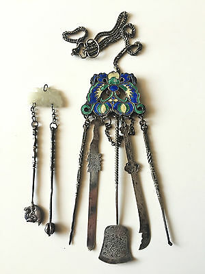 Antique chinese rare chatelaine silver enamel and jade 19th C