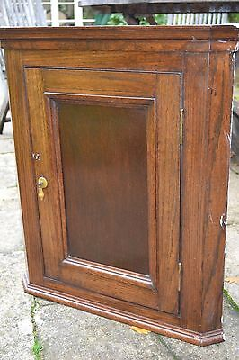 Oak Wall Hanging Corner Cupboard  - With Lock And Key