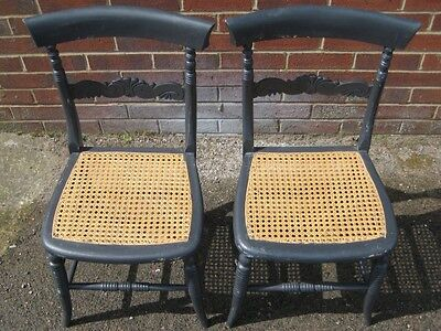 Pair 2 Victorian antique painted bergere caned bedroom dining side chairs