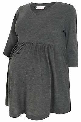Plus Size Womens Bump It Up Maternity Charcoal Ruched Waist Longline Top