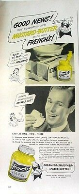 1942 FRENCH'S Mustard-Butter Good News! Ad vintage kitchen food