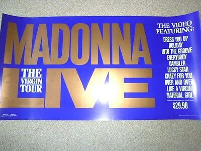 MADONNA - The Virgin Tour (Video) : 1985 very rare US promo-only POSTER : CD/DVD