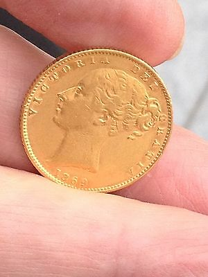 Sovereign Young Head Shield,1869  57 Mint, Coin ... Bygones And Jewellery