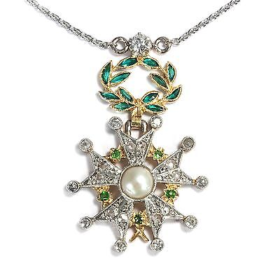Antike Orden Miniatur: Diamant Demantoid & Smaragd Collier Gold Platin