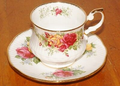 Lovely Vintage Cup & Saucer Queens Rosina China Ltd Rose Pattern repaired handle