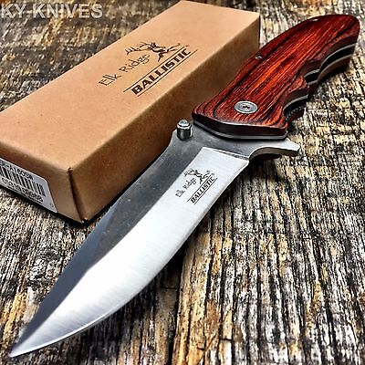ELK RIDGE Tactical Hunting Spring Assisted Open Pocket Knife Bowie New -S