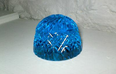 Vintage - Lovely - Heavy - Blue Cut Crystal Glass  Multi Faceted Paperweight -