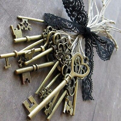 10 STEAMPUNK keys skeleton new old look antique charm Replica 3 color 2 & 3 inch