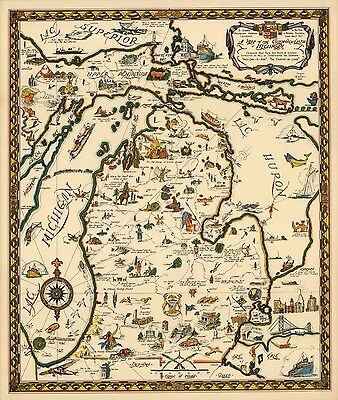 1935 PICTORIAL map Commonwealth Michigan Native American sites POSTER 8257