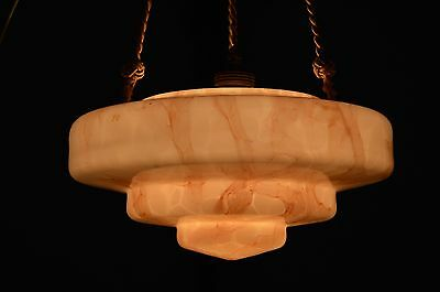 BEAUTIFUL CZECH ART DECO 30's Marbled Pink Glass Pendant LIGHT Fixture