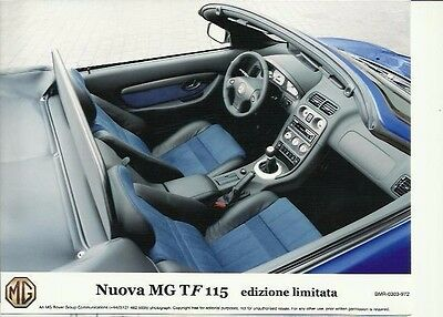 Nuova MG T F 115 MG F Original Italian Press Photograph Interior