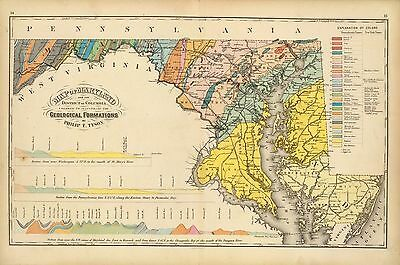 1873 antique map poster Lloyd Genealogy geological formations MARYLAND 001
