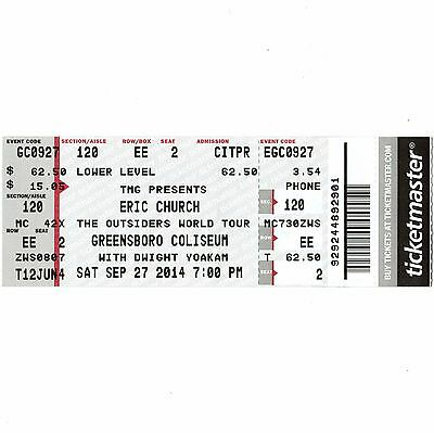 ERIC CHURCH & DWIGHT YOAKAM & BROTHERS OSBORNE Concert Ticket Stub GREENSBORO NC