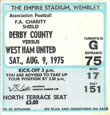 Ticket Charity Shield 1975 West Ham United v Derby County