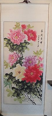 Chinese Scroll / Wall Hanging Hand Painted Peonies On Silk - Beautiful Gift