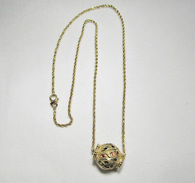 14K Yellow Gold Signed OR Multi Color Enamel Ball Necklace  9013