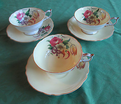 Vintage Paragon Cup and Saucer white Pink Rose Floral set of 3