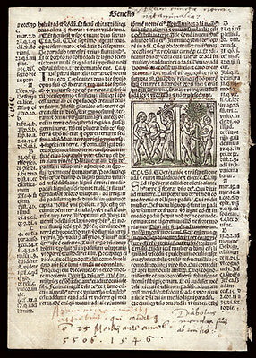 Giunta 1519 Bible Leaf Genesis 1-3 The Creation Story Woodcut of Adam & Eve