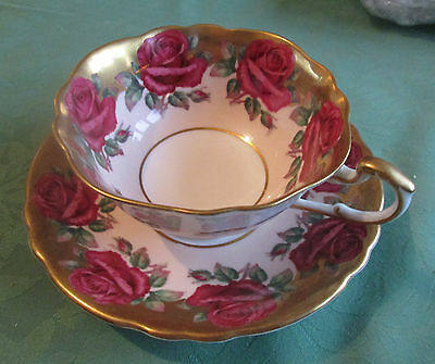 Vintage Paragon Cup and Saucer Gold Red Rose