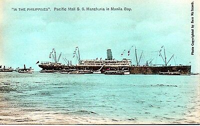 Excellent Philippines postcard of Pacific Mail S.S. Manchura in Manila Bay