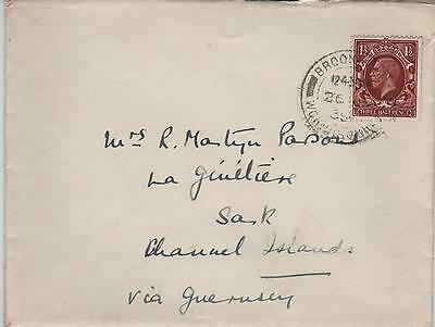 GB Cover 1936 Brookwood to Sark Channel Islands via Guernsey.