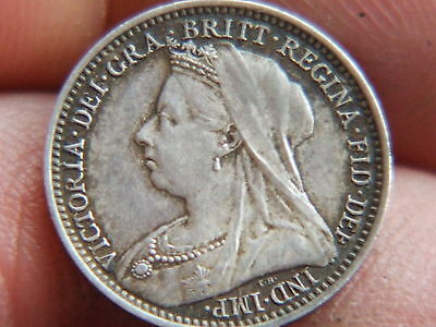 Queen Victoria Silver Threepence Dated 1893 Veiled Head
