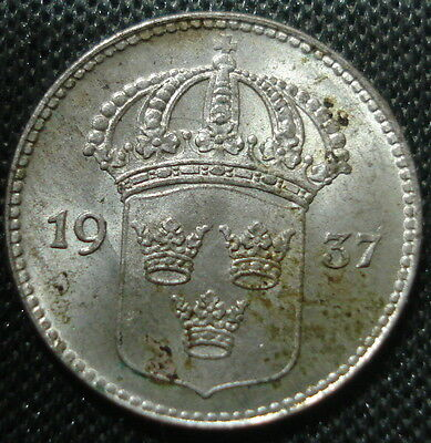 Lovely Uncirculated  Sweden 1937 Silver 10 Ore Attractive Toning
