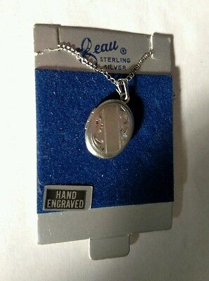 """Sterling Silver Hand-Engraved Photo Pendant Necklace by Beau - 5/8"""" long"""
