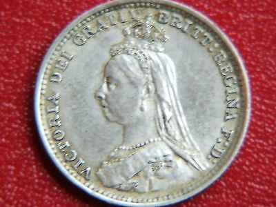 Queen Victoria Silver Threepence Dated 1887 Jubilee Head